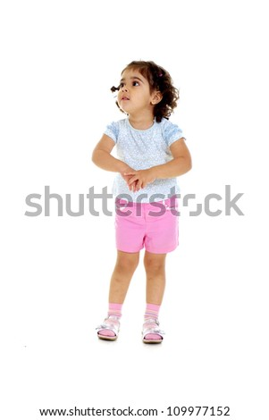 Attractive little girl with tails in a white t-shirt - stock photo
