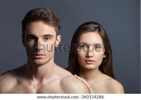 Attractive loving couple are spending time together - stock photo
