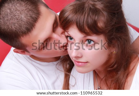 attractive loving embracing couple