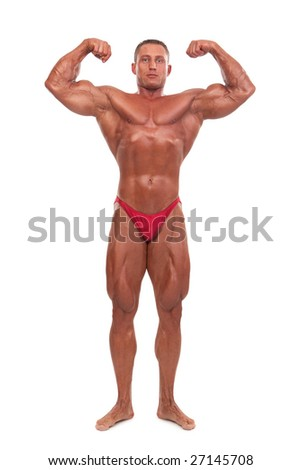 Attractive male body builder, demonstrating contest pose, isolated on white background