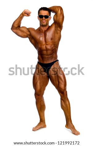 Attractive male body builder, isolated on white background - stock photo