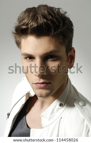 attractive man close up portrait - stock photo