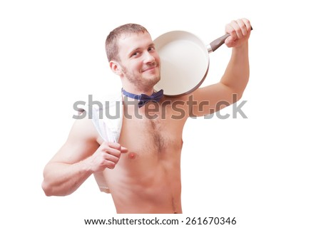 Attractive man holding a towel and a frying pan, isolated - stock photo