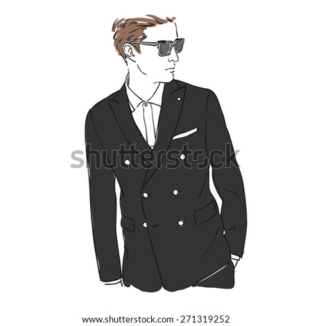 Attractive man with glasses in fashion black suit. Hand draw  illustration. Isolated. Rasterized copy. - stock photo