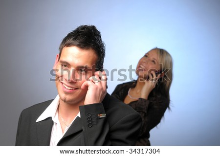 Attractive manager with phone - stock photo