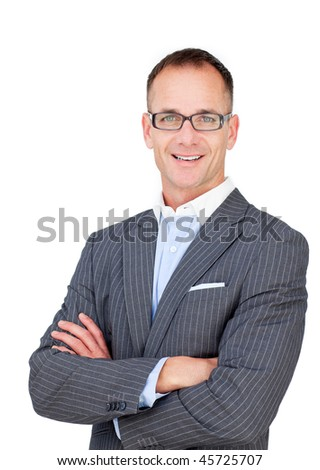 Attractive mature businessman wearing glasses against a white background - stock photo