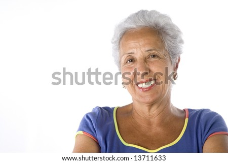 Attractive mature woman on white background - stock photo