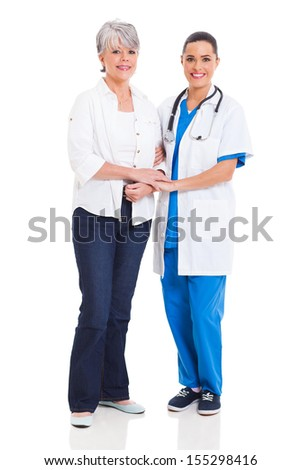 attractive medical doctor standing with senior patient isolated on white - stock photo