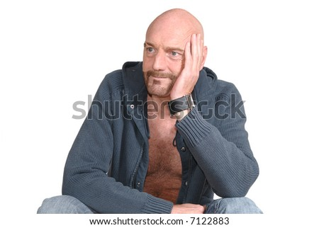 Attractive, mid fifties bearded, smiling middle aged man.  Casual dressed.