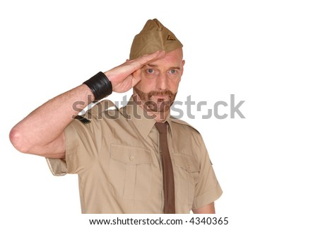 Attractive, mid fifties bearded soldier in uniform saluting, Defense, protection, army concept - stock photo