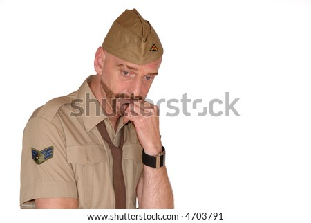 Attractive, mid fifties bearded soldier in uniform thinking, Defence, protection, army concept - stock photo