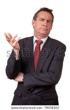 Attractive Middle Age Business Man in Suit with Annoyed Expression - stock photo