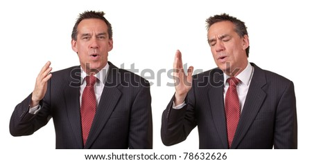 Attractive Middle Age Business Man Smelling Something Bad - stock photo