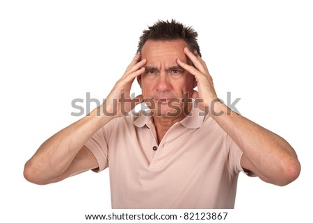 Attractive Middle Age Man Holding Head in Pain with Headache - stock photo