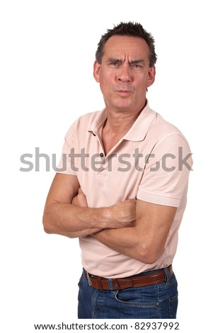 Attractive Middle Age Man Making Funny Silly Ooh Aah Face - stock photo