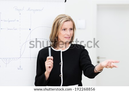 Attractive middle-aged businesswoman giving a presentation or in house training session gesturing with her hand to invite questions from the audience - stock photo