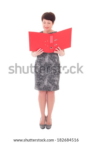 attractive middle aged businesswoman with open folder isolated on white background - stock photo