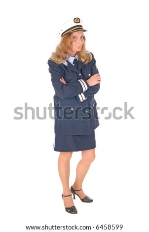 Attractive middle aged female cruise director, stewardess, boat officer. White background
