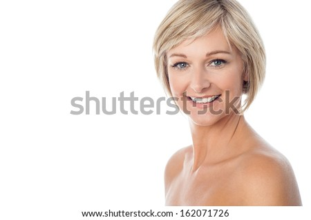 Attractive middle aged lady isolated on white - stock photo