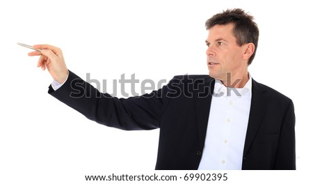 Attractive middle-aged man pointing to the side. All on white background.