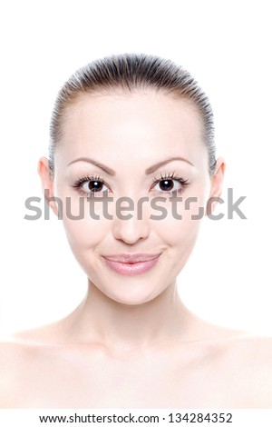 Attractive Mixed Asian Beauty Shot of head with a smile - stock photo