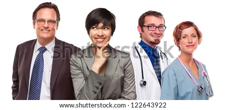 Attractive Mixed Race Women and Businessman with Doctors or Nurses Isolated on a White Background.