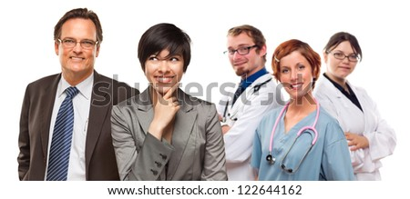 Attractive Mixed Race Women and Businessman with Doctors or Nurses Isolated on a White Background. - stock photo