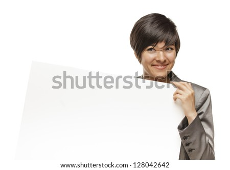 Attractive Mixed Race Young Adult Female Holding Blank White Sign in Front of Her Isolated on a White Background.