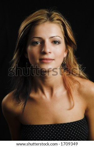 Attractive model closeup on black background - very high resolution - stock photo
