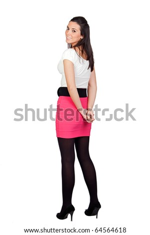 Attractive model girl isolated on white background