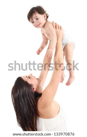 Attractive mother raising her baby and laughing isolated on a white background