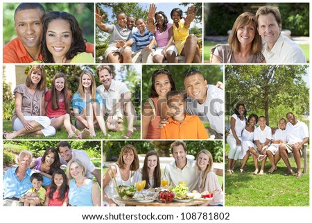 Attractive multicultural families mothers, fathers, sons, daughters, grandparents outside having fun in the summer sunshine, eating, sitting, smiling, waving, laughing, happy - stock photo