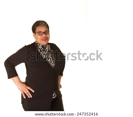 Attractive older black woman isolated on white