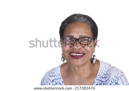 Attractive older woman isolated - stock photo