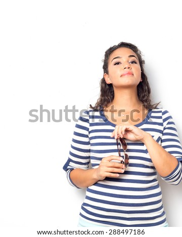 Attractive olive skin young woman - stock photo