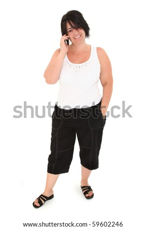 Attractive over weight forty year old french american woman over white background with cellphone.