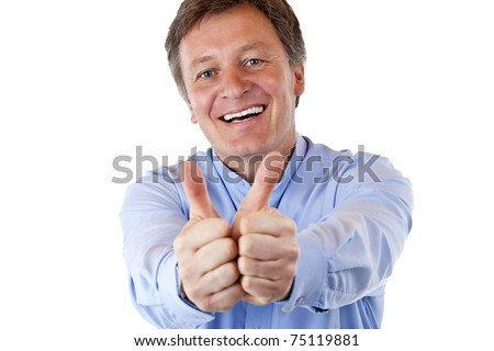 attractive pensioner shows both thumbs up and smiles happy. Isolated on white background. - stock photo