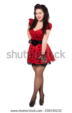 Attractive pin-up girl over white - stock photo