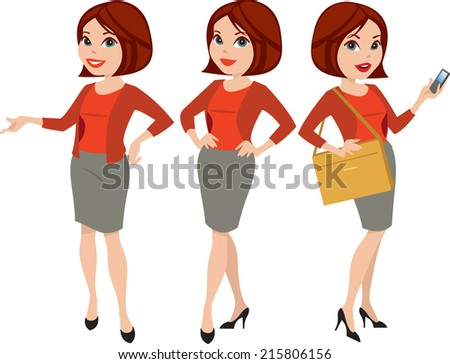Attractive professional woman in three poses with different facial expressions, raster illustration - stock photo