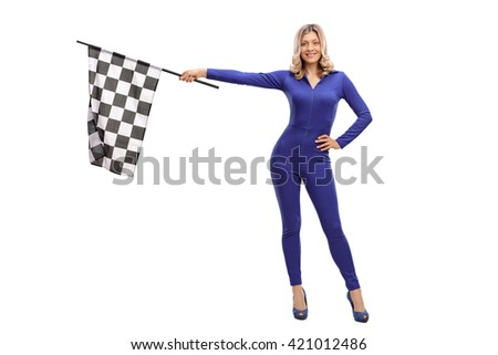 Attractive racing woman waving a race flag and looking at the camera isolate on white background - stock photo