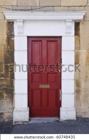 Attractive Red Front Door of a Georgian Town House