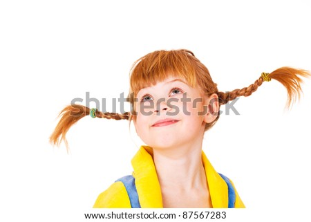 Attractive red headed 6 years old girl - stock photo