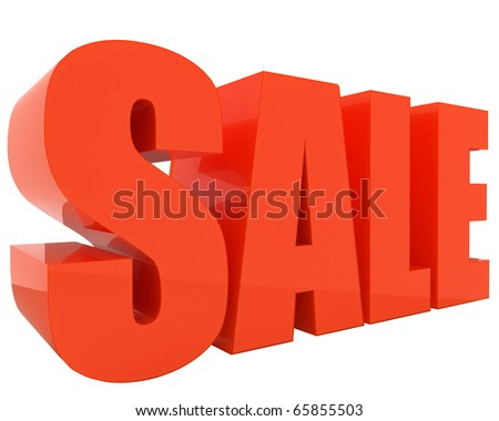 attractive SALE 3d-text with nice reflections isolated on white background - stock photo