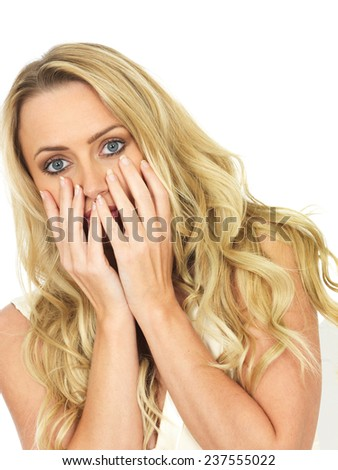 Attractive Scared Frightened Young Woman - stock photo