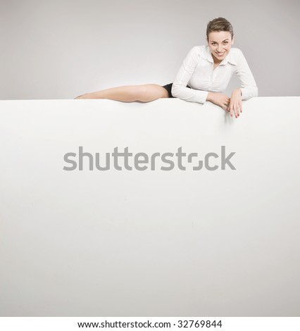 Attractive secretary over white board - stock photo