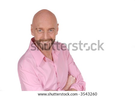 Attractive self confident  bearded  smiling middle aged man.  Aging, beauty concept. - stock photo