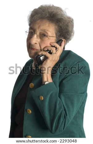 attractive senior woman business executive talking on phone - stock photo