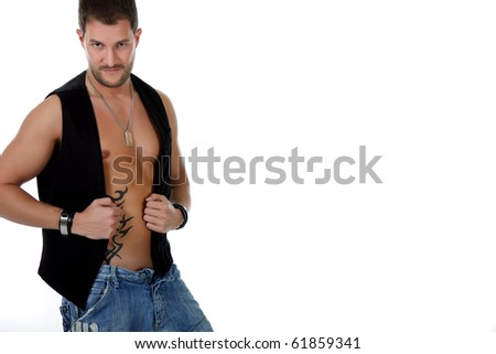 Attractive sexy caucasian man in jeans and black vest posing. Sensual look. studio shot. white background. - stock photo