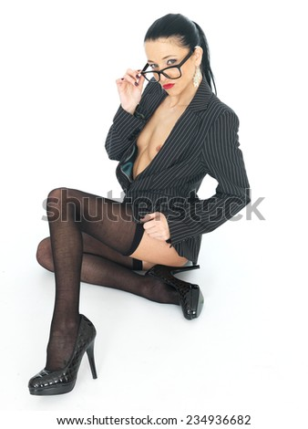 Attractive Sexy Sensual Young Business Woman Pin Up - stock photo