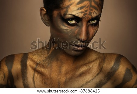 attractive sexy tiger woman - stock photo
